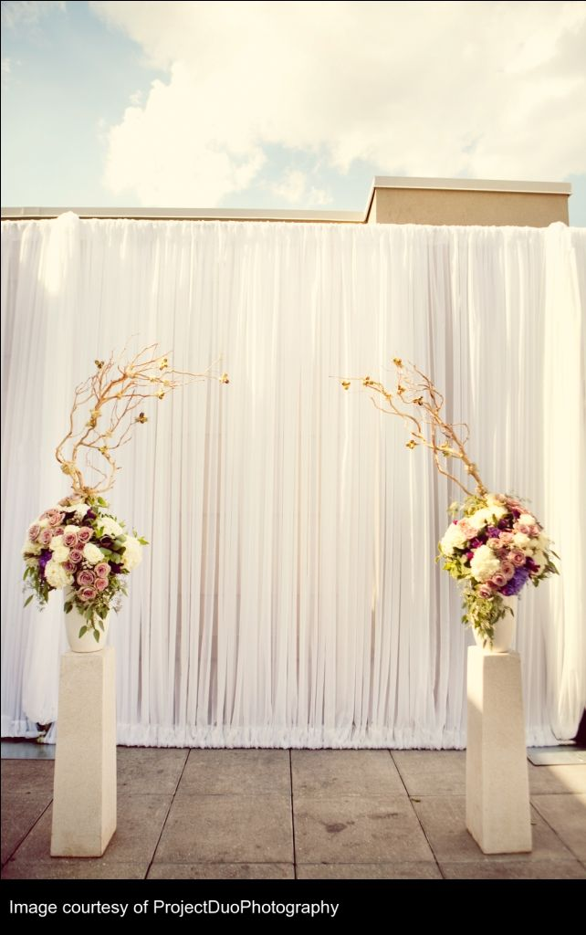 Ensure the manzanita is far enough apart.: Ceremony Simple, Flowers Display, Ceremony Decor, Flowers Arrangements, Red Flowers, Cool Ideas, Pvc Pipes, Ceremony Ideas, Wedding Ceremony Backdrops