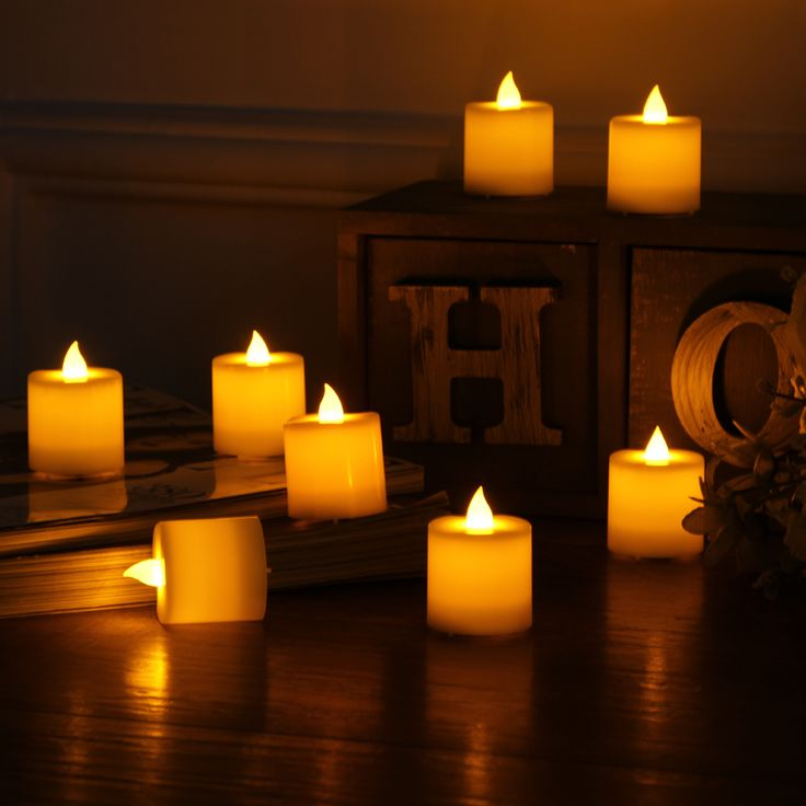 Nice 10 Pcs LED Electronic Flameless Candles Yellow Tea Light Simulation Flame  Flicker Candle Lamps Mini Candles