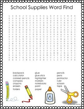 FREEBIE- School Supply Word Search- Back to School Fun- by Hello Learning