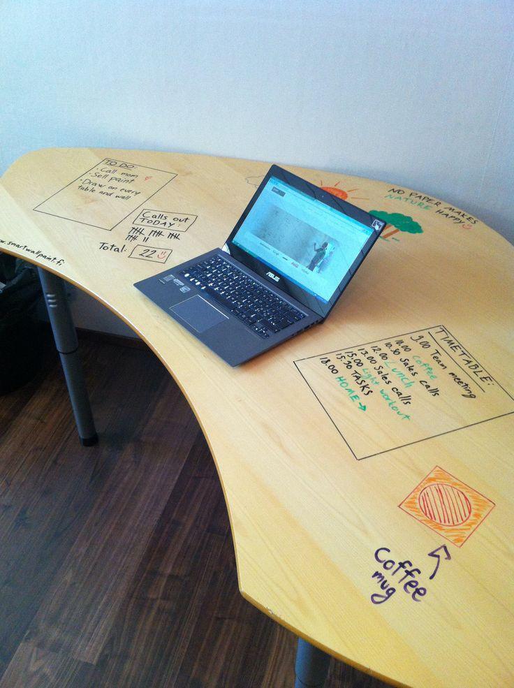 Smart Wall Paint läpinäkyvällä tussitaulumaalilla päällystetty  työpöytä valmiina piirreltäväksi. #habitare2014 #design #sisustus #messut #helsinki #messukeskus