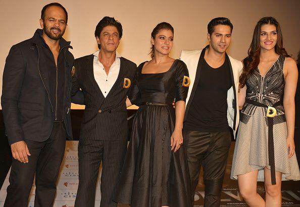 Rohit Shetty, Shah Rukh Khan, Kajol, Varun Dhawan and Kriti Sanon at the trailer launch of their movie DILWALE in Mumbai