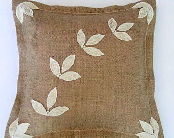 Decorative Pillows Burlap Throw Pillow Cover burlap pillow three leaf clover jute cushion Rustic chic burlup pillow