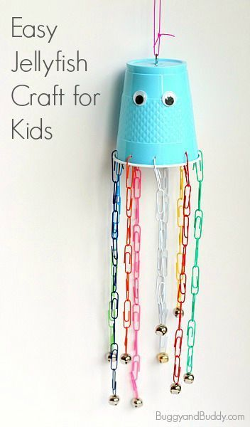 Paperclip and Cup Jellyfish Craft for Kids: Perfect for summer or and ocean until and provides fine motor practice. (Add some bells to make a wind chime!) ~ http://BuggyandBuddy.com