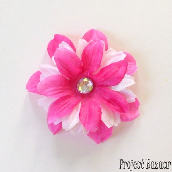 Flower hair clip tutorial. How to make a flower hair clip using silk flowers from the dollar store.