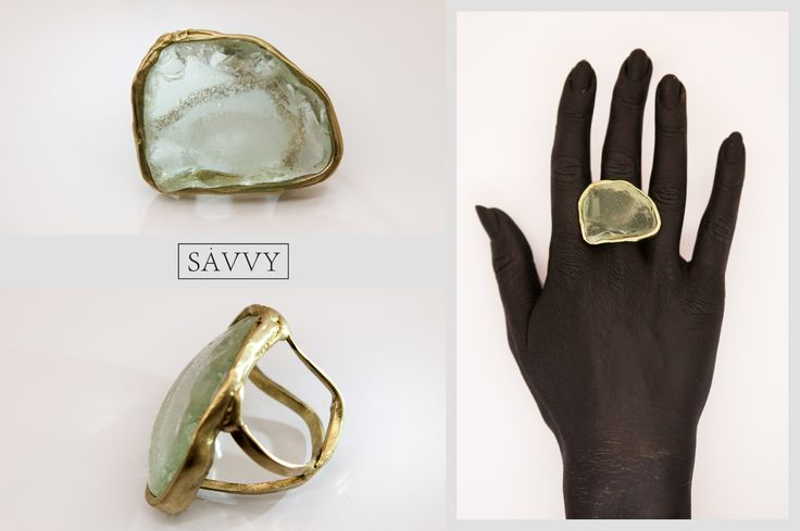 sea glass, brass ring  made by SAVVY jewellery, Poland. https://www.etsy.com/shop/jewellerySAVVY