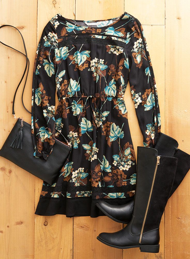 A head-to-toe black outfit is anything but boring when it includes fall florals and great accessories. Featured product includes: LC Lauren Conrad floral dress and riding boots. Pretty up your fall style at Kohl's.