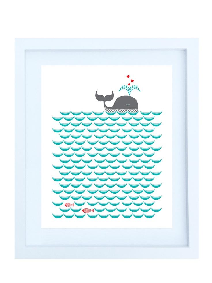 Whale on the Waves Illustration 8x10 Print in Teal par helenrobin