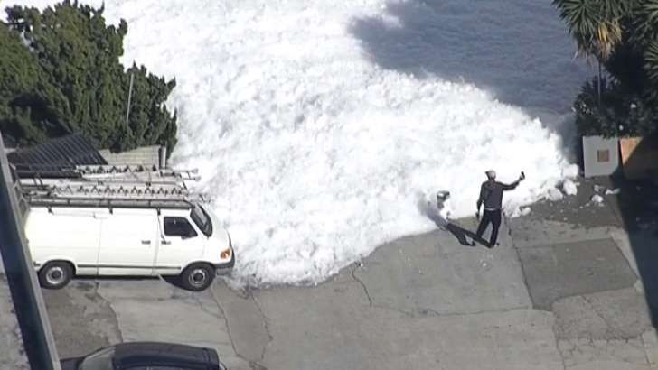 Friday morning KTVU news reported a mysterious blob of foam making its way onto Martin Avenue in Santa Clara. In footage captured on Facebook live by the news team, foam appeared to be coming from a building on the westside of the San Jose International Airport. Cars that were parked on the street disappeared under the foam. The wind was blowing foam from the blob, at one point the foam appeared to form a ...