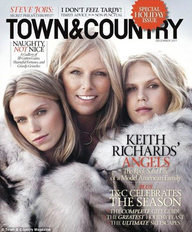 Keith Richards´wife Patti Hansen and daughters Theodora & Alexandra, Town & Country