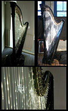 Fiber optic strings! Gasp! It's so pretty. Is it playable I wonder, or just decorative?   . London Harp Studio   Erard, Naderman, Brunner and other antique harps for sale