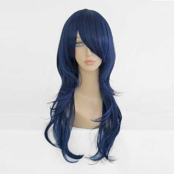 Carnaval pruik donkerblauw lang haar in laagjes