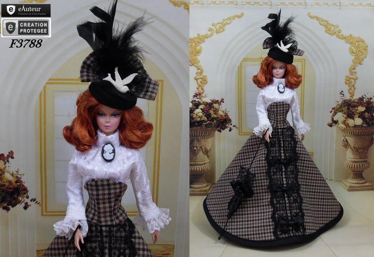 """Robe """" Augustine """" vêtement pour poupée Barbie fashionistas et autres f3788 : Jeux, jouets par f3788"""