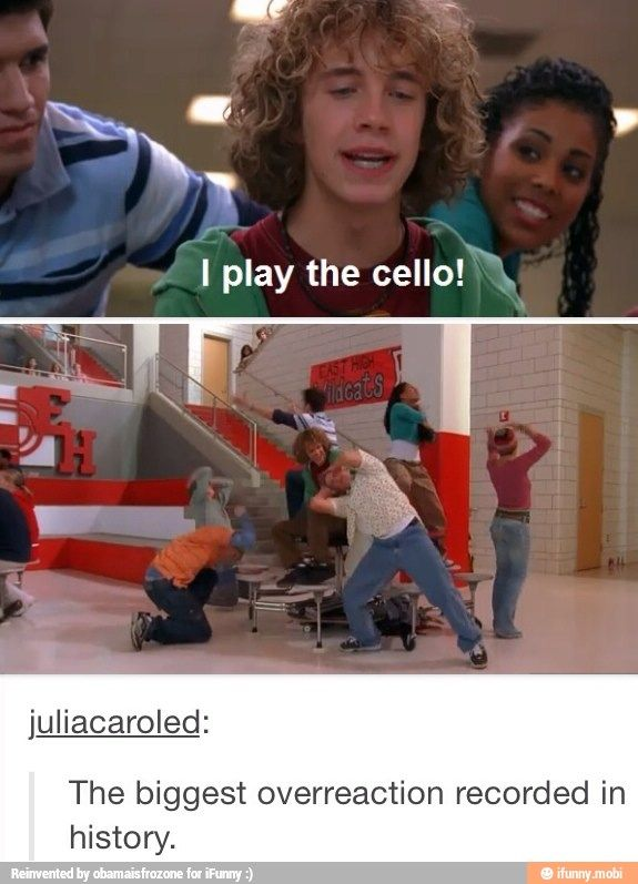 Oh HSM...so funny xD<<< we are doing this for the school play and I'm that guy. When I do an awesome air cello solo everyone freaks out