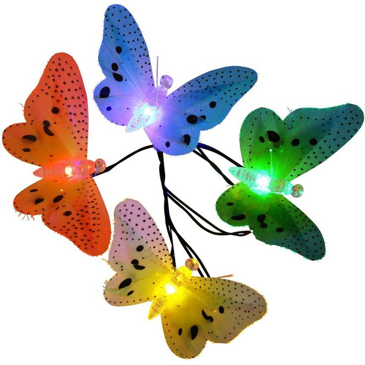 LUCKLED Outdoor Solar String Lights, 12 LED Multi Color Fiber Optic Butterfly Lights Decorative Lighting for Home, Garden, Patio, Lawn, Party and Christmas Decoration (Multi-Color) >> Discover this special deal, click the image : Seasonal Lighting for Christmas