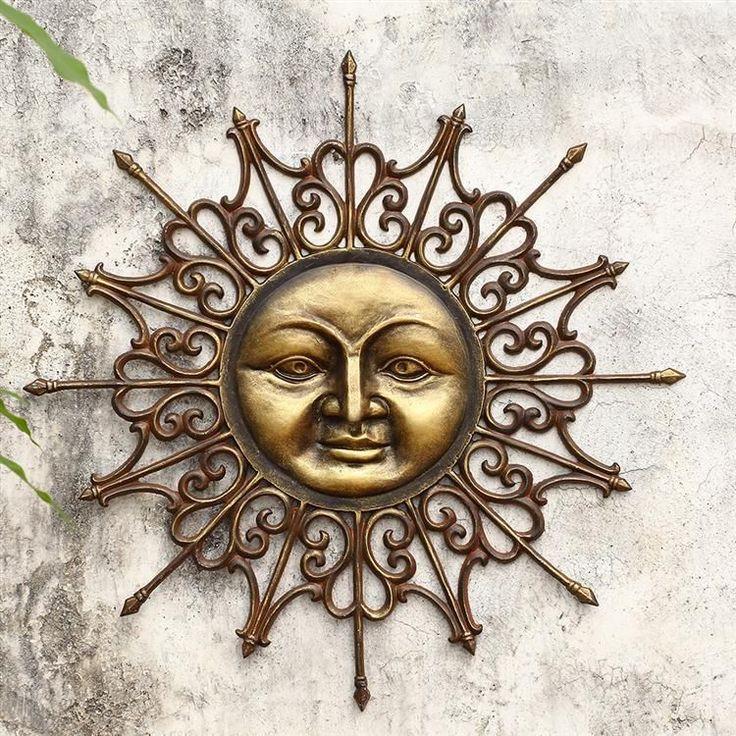 Beautiful Radiant Sun Aluminum Wall Plaque Sculpture 28 5 X