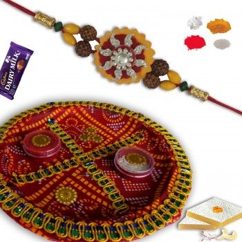 Zardosi Rakhi with Decorative Rakshabandhan Thali @http://www.rakhistoreonline.com/