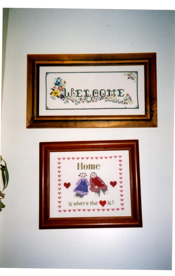2 small cross stitches which hang near my front door.