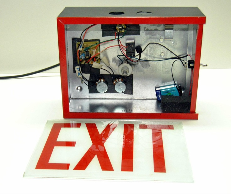 Inside Robert Brenne's exit sign guitar amp