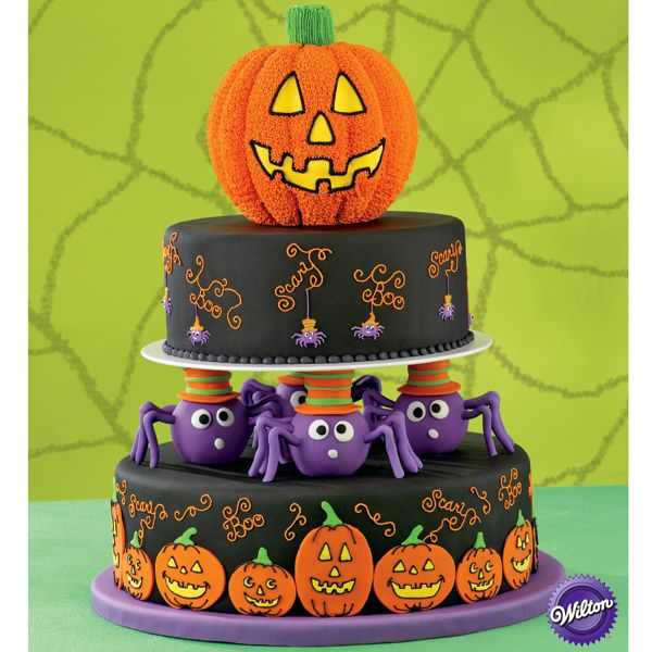 Pumpkins and spiders and webs oh my these cakes have for 3 tier pumpkin decoration