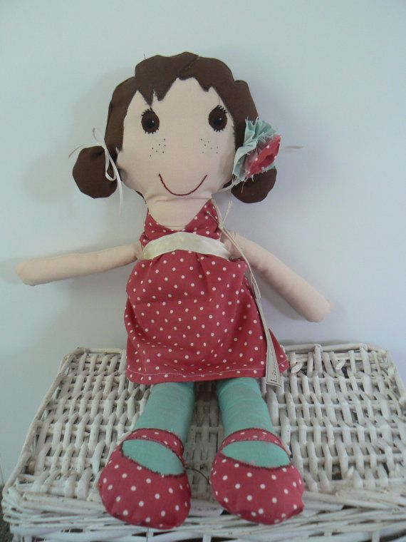 Soft plush rag doll, handmade and one of a kind available at www.etsy.com/lizziedoodlesnz