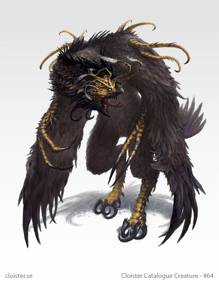 Drocharan - Creature concept by Cloister cockatrice mutant chicken monster beast creature animal | Create your own roleplaying game material w/ RPG Bard: www.rpgbard.com | Writing inspiration for Dungeons and Dragons DND D&D Pathfinder PFRPG Warhammer 40k Star Wars Shadowrun Call of Cthulhu Lord of the Rings LoTR + d20 fantasy science fiction scifi horror design | Not Trusty Sword art: click artwork for source