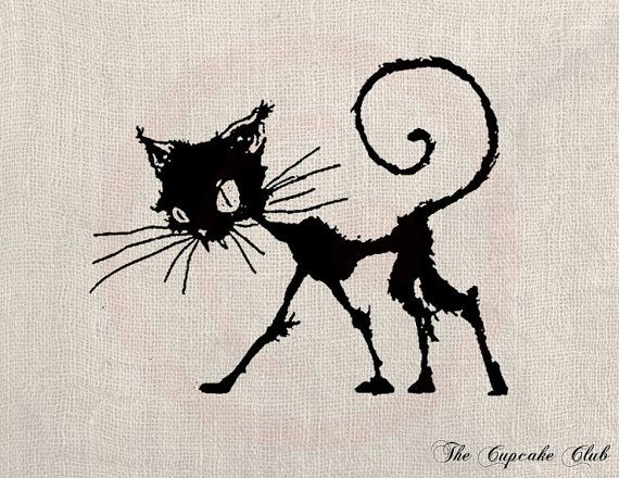 clip art design transfer digital file vintage download diy scrapbook shabby chic pillow burlap black cat - Black Cat Silhouette Halloween