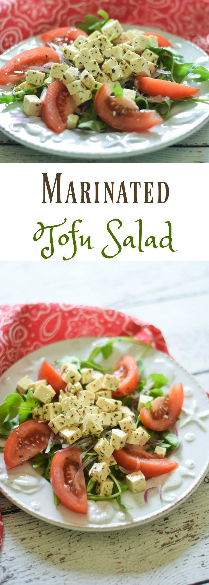 Marinated Tofu Salad is made of small cubes of tofu that have been marinated in a homemade Greek flavored salad dressing. This high protein vegan salad is so full of flavor that you may have trouble convincing some that it is actually tofu they are eating