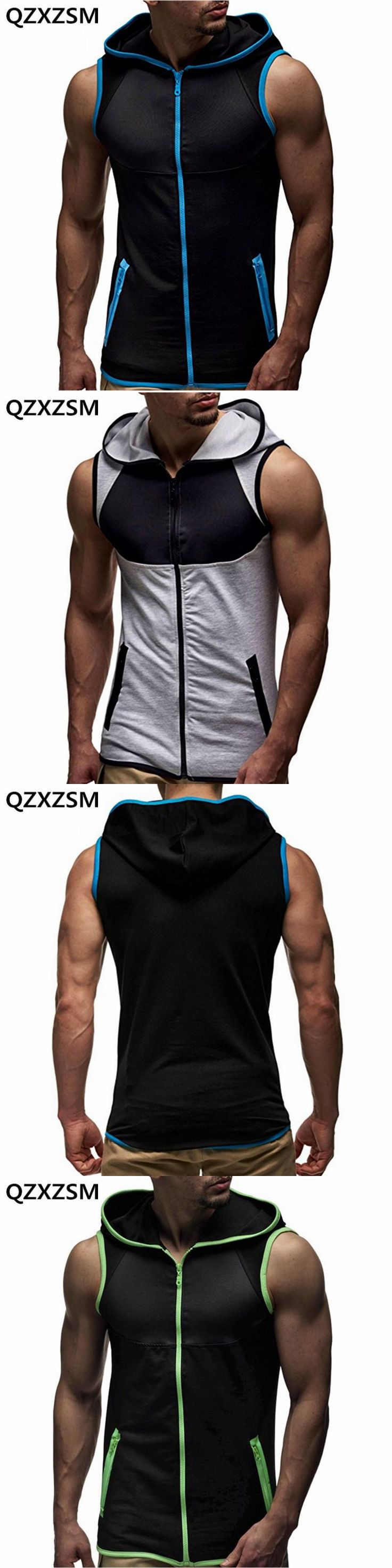 QZXZSM 2017 new Men Tank Tops with Hoody Fitness Mens Bodybuilding Clothing Crossfit Workout Top Activewear Sleeveless Hoodies