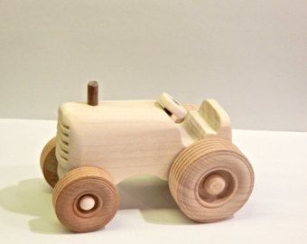 Handmade wooden toy tractor, wooden car