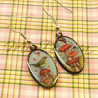 Drop Earrings Toadstool and Bird Eugenie - MiaDeRoca