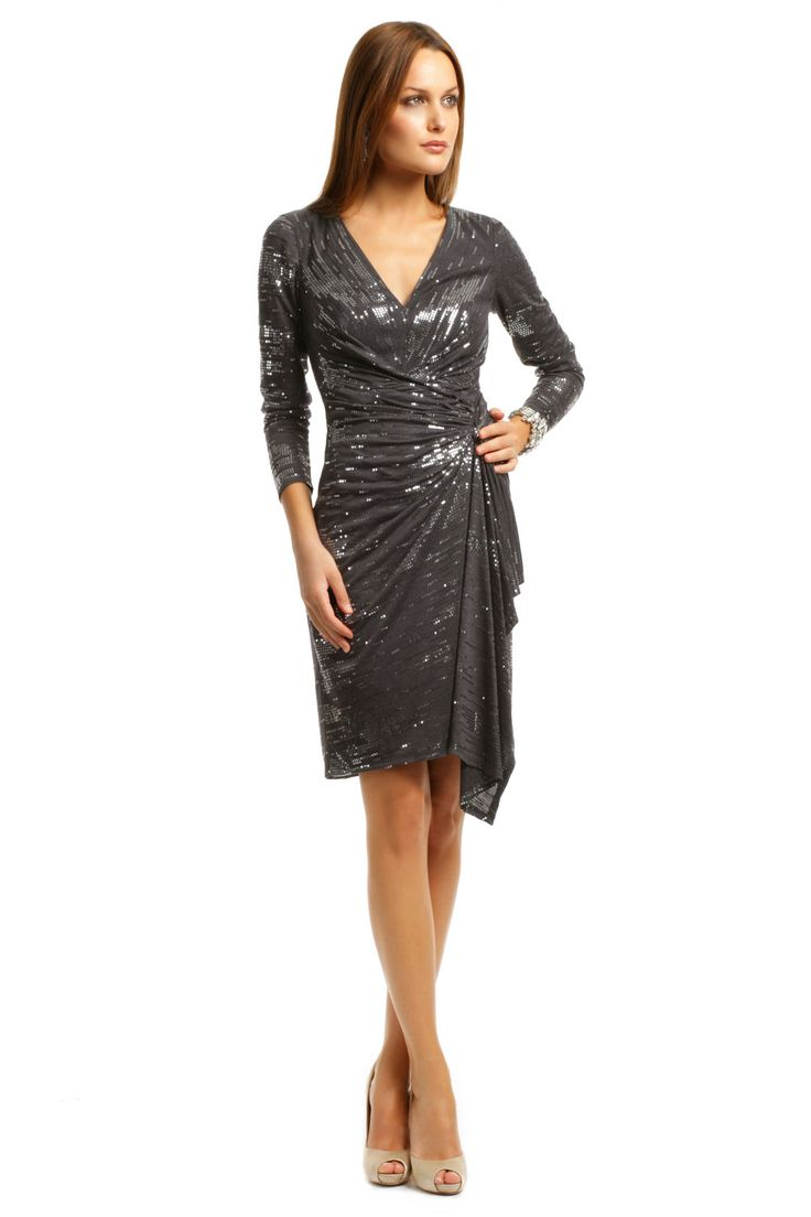 David meister charcoal cocktail sequin dress