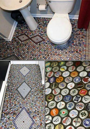 A mosaic bathroom floor made with metal bottle tops. Do you think it would be slippery when wet?