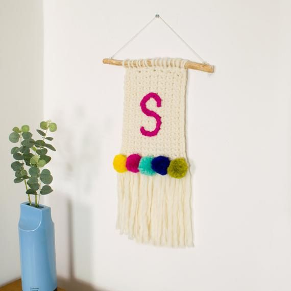 Pom Pom Wall Hanging Personalised Initial Pom Pom Wall Hanging Monogram Wall Sign Nursey Wall Hanging C In 2020 Crochet Wall Hangings Weaving For Kids Wall Hanging