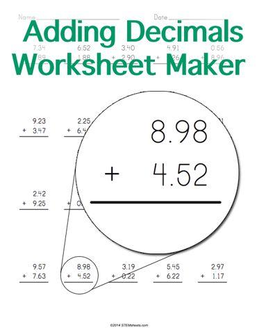 Pre School Worksheets : decimal addition worksheet generator ...