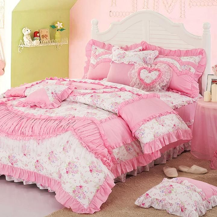 shabby chic bedding pink flower bedding bedclothes sheet chic bedding 2