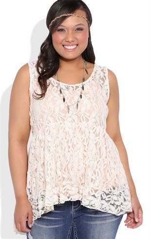 Deb Shops Plus Size Tiered Lace Babydoll Tank Top