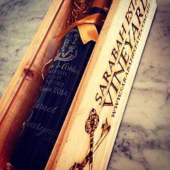 Personalised engraved bottle of Merlot in a SEV engraved wooden box.  What an amazing keepsake! #merlot #engraved #grandandgrave #sev #sarabahestatevineyard #weddinggift #bride #groom #keepsake #personalised