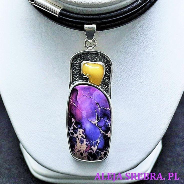 Naszyjnik Przedwiośnie. Biżuteria wykonana ręcznie ze srebra, bursztynu oraz jaspisu. Doskonała jakość dla najbardziej wymagających koneserek pięknego srebra.