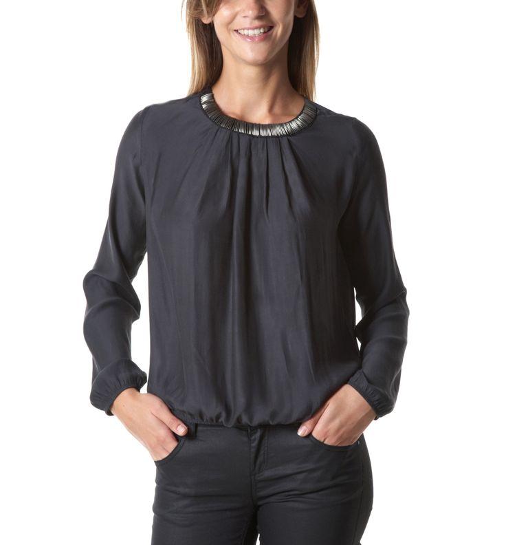 Bluse mit Collier-Kragen - Dunkles Flanell - Damen - Shirts - Promod