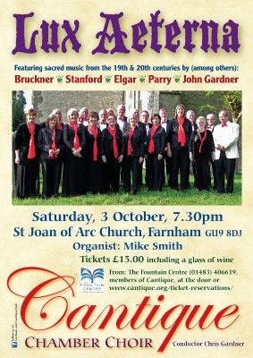 Choral concert 'Lux Aeterna' by Cantique Chamber Choir in aid of Fountain Centre, St Luke's Hospital |