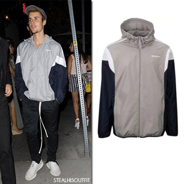 Justin Bieber in grey Adidas jacket and black sweats