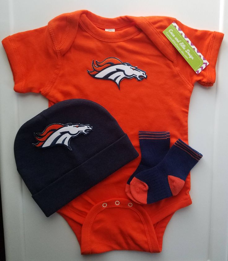 baby boy Denver Broncos outfit with hat-denver broncos baby gift set-denver broncos creeper-denver bronco outfit for baby-broncos beanie hat by CocoandEllieDesign on Etsy