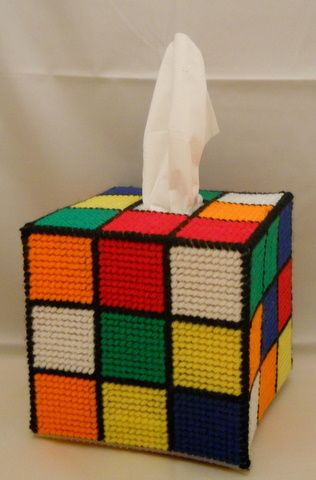 Big Bang Theory Rubix Cube Tissue Box - pattern by WonkyDawn http://www.etsy.com/shop/wonkydawn