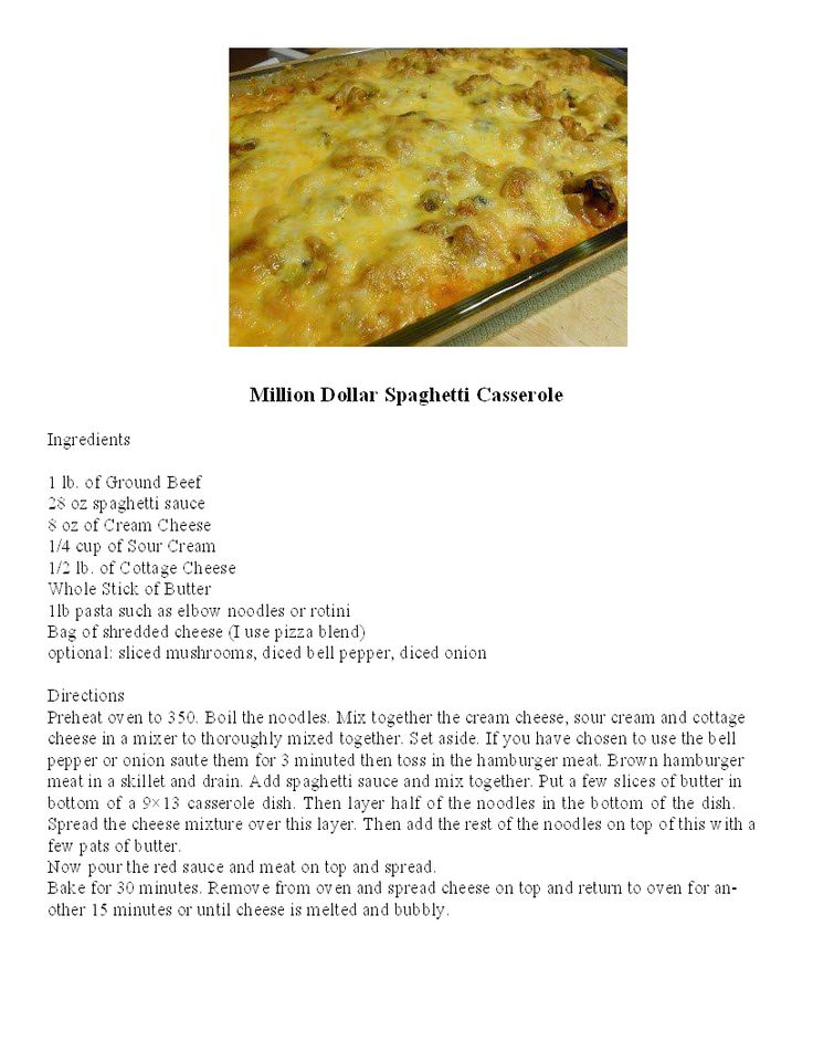 Million Dollar Spaghetti Casserole