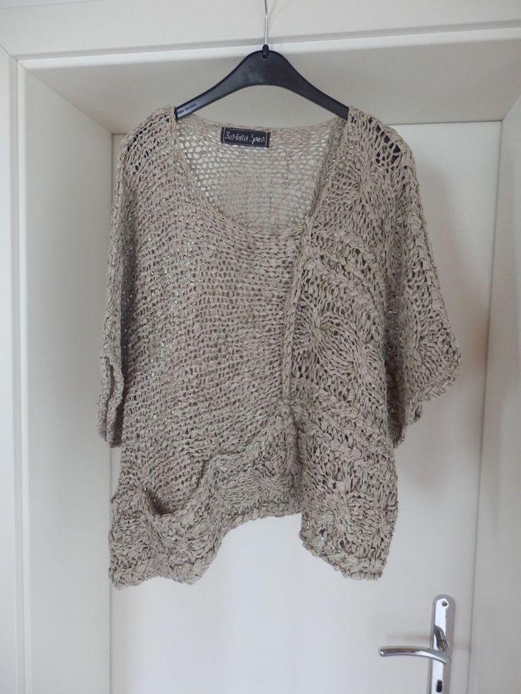 Barbara Speer - TRAUM Pullover, beige, kurz, weit, Lagenlook, Gr. 46 48 50 52