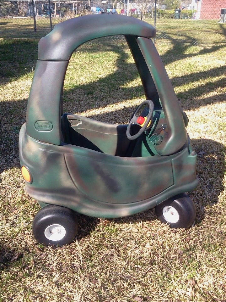 from girly pink cozy coupe to manly camo coupe
