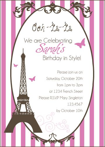 Paris Birthday Theme Invitations