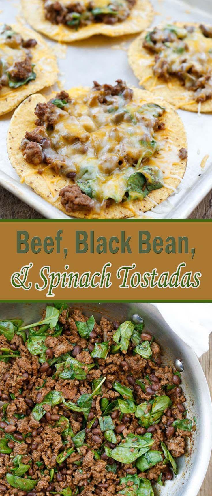 Beef, Black Bean, and Spinach Tostadas