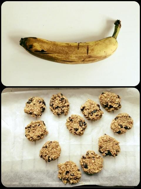 BANAN SMÅKAGER 1 banan 1 dl havregryn Mos det hele sammen og lav små cookies. I ovnen på 180 grader i 7 minutter. Option: kom chokolade, nødder eller rosiner i