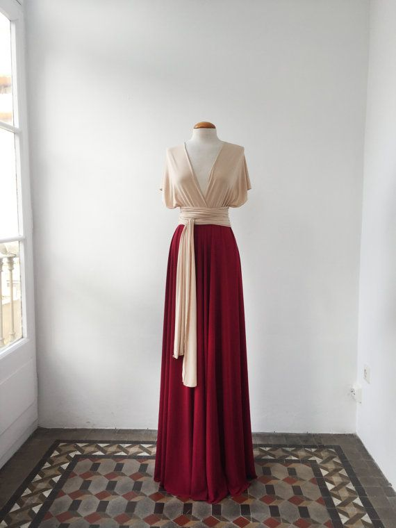 Nude long evening dress champagne red dress two colors by mimetik